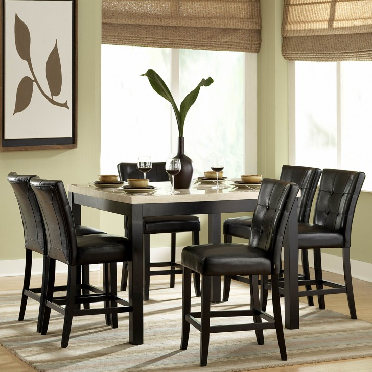 Dining Room , 7 Awesome Marble Counter Height Dining Table : Archstone Faux Marble Counter Height Dining Table