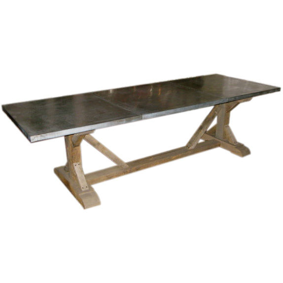 Furniture , 8 Unique Zinc Topped Dining Table : Belgian Zinc Top Trestle Dining Table