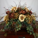 Brown and cream-toned silk floral arrangement , 8 Excellent Silk Flower Arrangements For Dining Room Table In Apartment Category