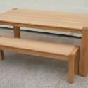 Cambridge Oak Bench Economy Budget Dining Table , 5 Top Narrow Dining Table With Bench In Furniture Category
