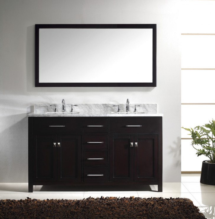 Furniture , 5 Nice 60 Inch Bathroom Vanity Double Sink : Caroline 60 Inch Double Square Sink Bathroom