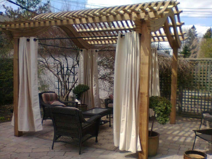 Homes , 8 Outstanding Pergola Curtains : Classic Pergola with curtains