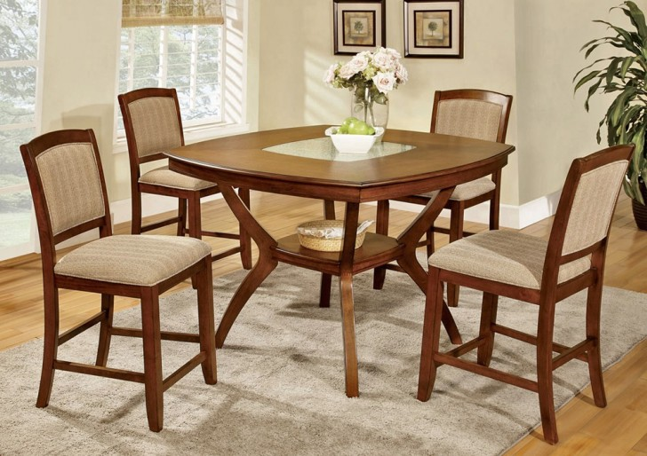 Dining Room , 7 Fabulous Cracked Glass DiningTable : Cracked Glass Insert Pub Table Set