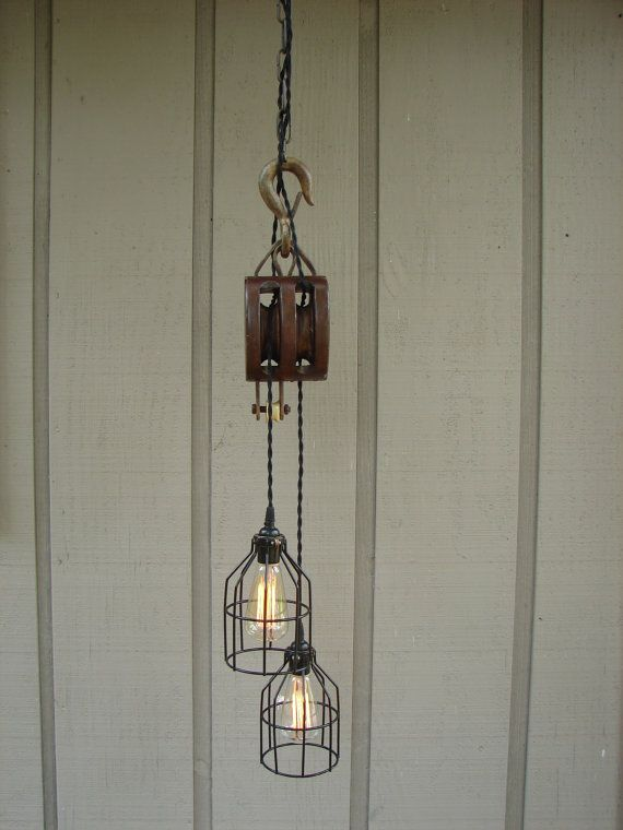 Lightning , 7 Amazing Pulley Pendant Light : Industrial Pulley Pendant Light