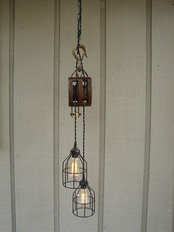 Lightning , 7 Amazing Pulley Pendant Light : Industrial Pulley Pendant Light
