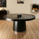Large Round Black Oak Dining table , 8 Cool Dining Table With Lazy Susan In Furniture Category