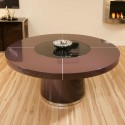 Large Round Plum Gloss Dining table , 7 Unique Dining Room Table With Lazy Susan In Furniture Category
