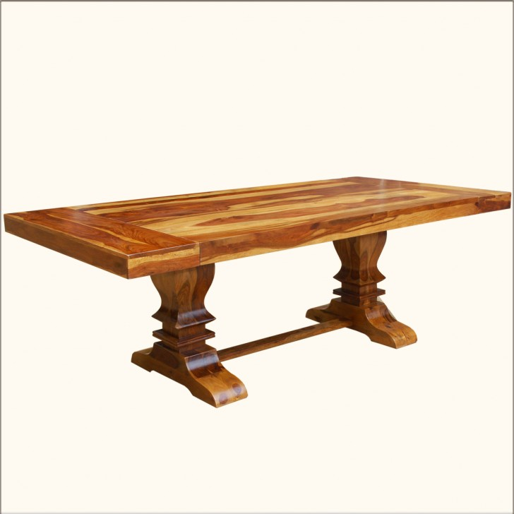 Furniture , 7 Good Trestle Dining Table Sale : Large Trestle Pedestal Dining Table