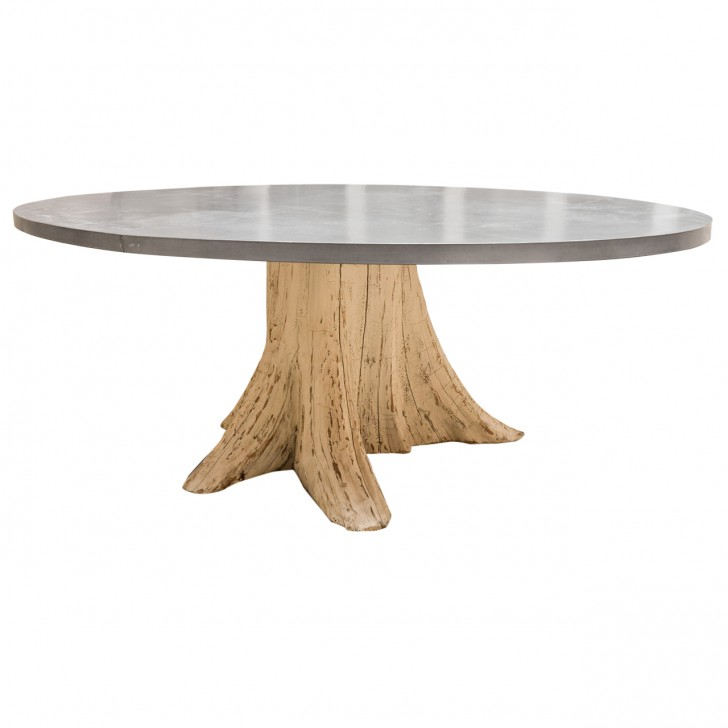 Furniture , 8 Unique Zinc Topped Dining Table : Natural Tree Trunk Dining Table