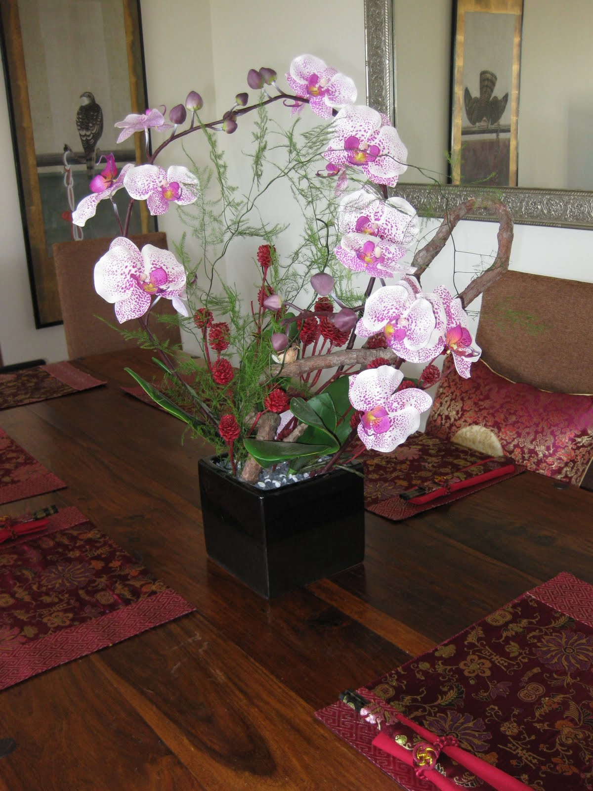 New silk flower arrangement on dining room table 8 for Dining room table arrangements