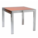 Orange glass top , 7 Charming Square Extendable Dining Table In Furniture Category