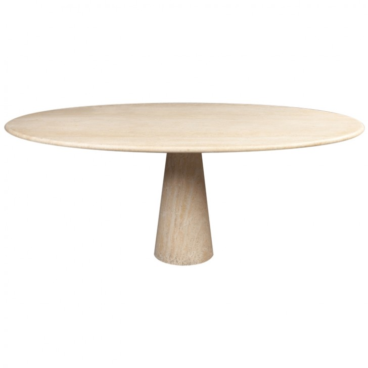 Furniture , 7 Unique Travertine Dining Table : Oval Travertine Italian Dining Table