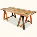 Reclaimed Wood Dining Table , 7 Perfect Sawhorse Dining Table In Furniture Category