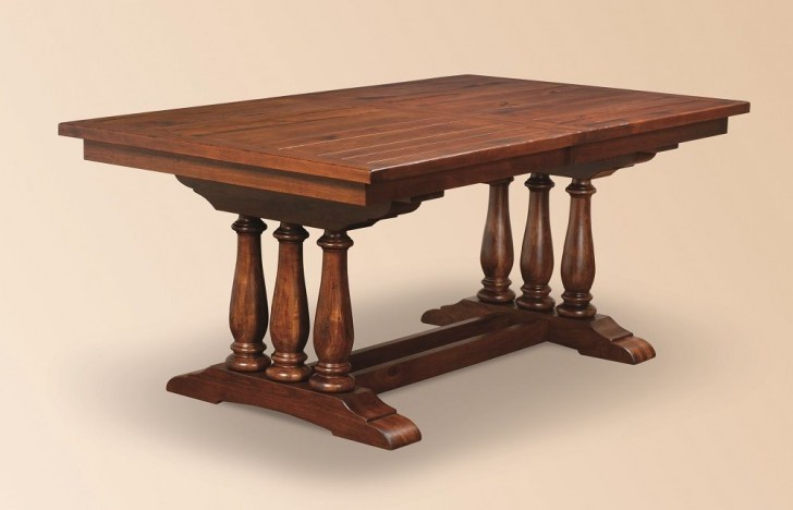 Furniture , 5 Excellent Trestle Dining Table With Leaf : Table Antique Furniture