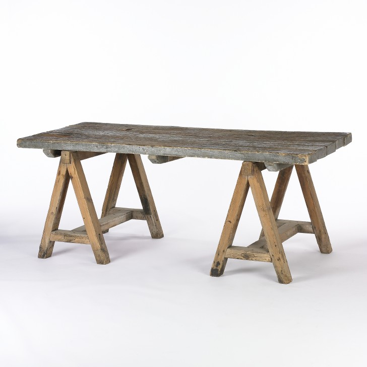 Furniture , 7 Perfect Sawhorse Dining Table : Table in Reclaimed Wood