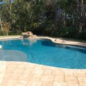 Travertine Deck with Waterfall , 7 Hottest Travertine Pool Deck In Others Category