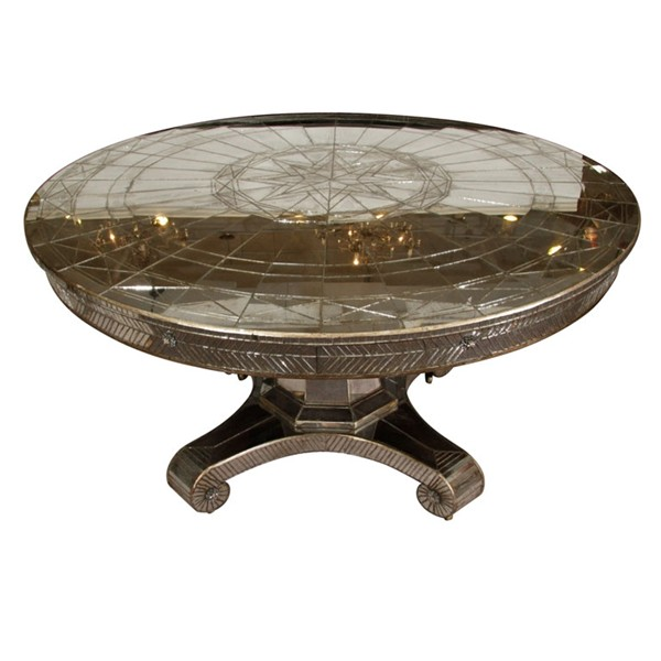 Furniture , 8 Awesome Round Mirrored Dining Table : Vintage Round Mirrored Dining Table