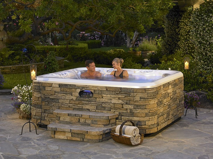 Bathroom , 6 Nice Hot Tub Surrounds :  small hot tubs