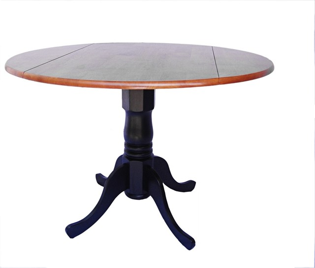 Furniture , 7 Lovely Black Pedestal Dining Table With Leaf : traditional dining tables