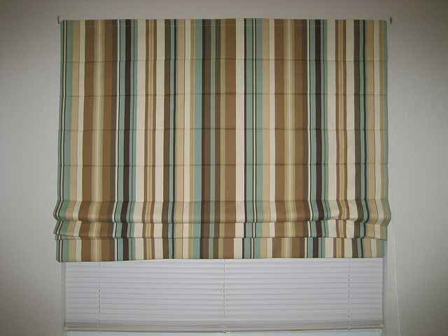 Interior Design , 7 Superb Striped Roman Shades :  window treatments for bay windows