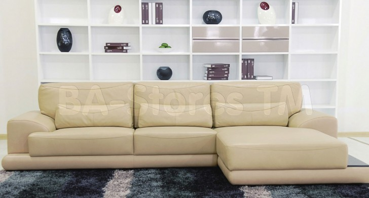 Furniture , 7 Cool Oversized Sectional Sofas : Beige Leather Sectional Sofa