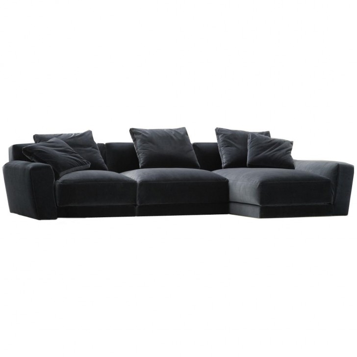 Furniture , 8 Good Velvet Sectional : Big blue velvet sectional