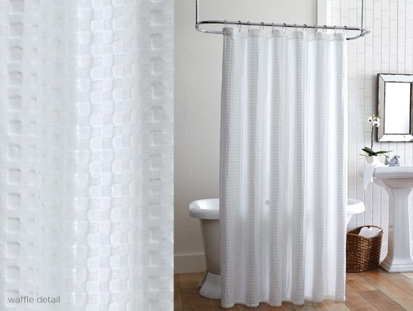 Others , 5 Nice White Waffle Shower Curtain : Details Additional Information Care Instructions