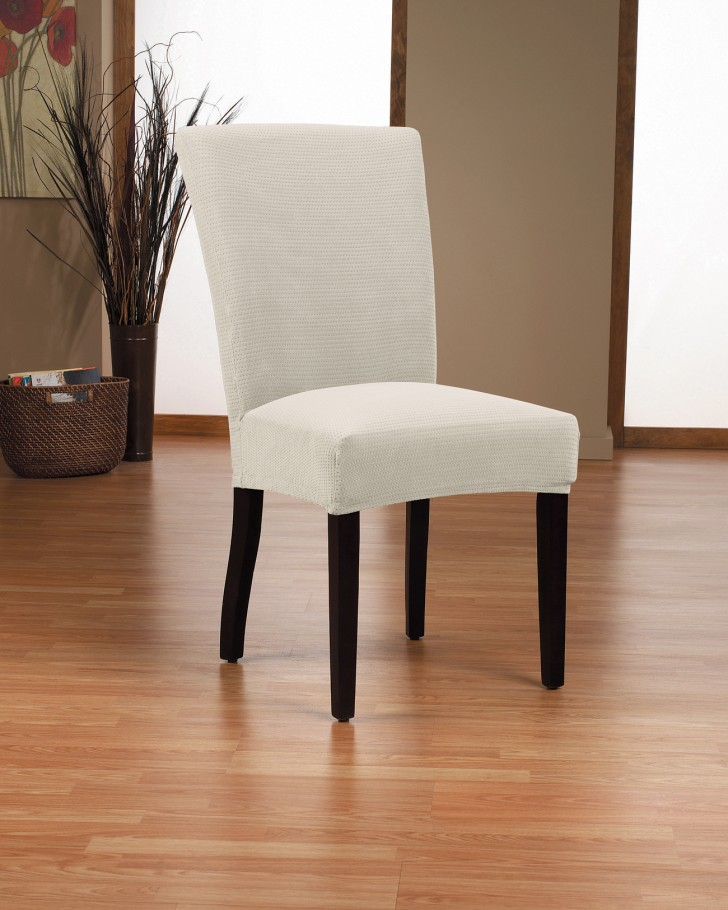 Furniture , 8 Stunning Dining Chair Slipcovers : Dimples Bone Dining Chair