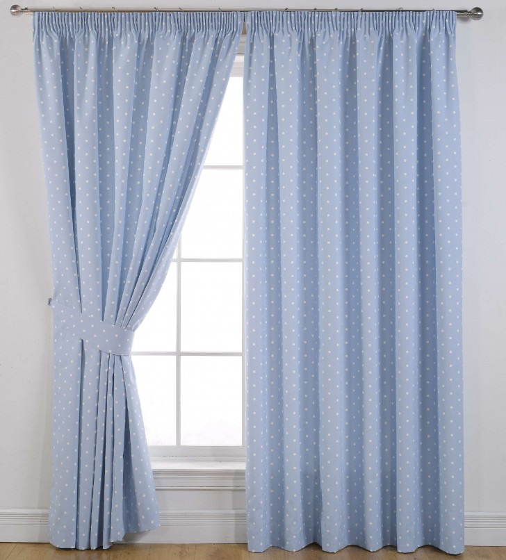 Others , 7 Charming Darkening Curtains : Dotty Readymade Blackout Curtains Blue