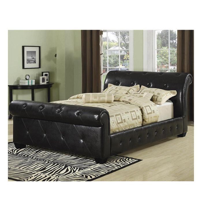 Bedroom , 7 Superb Tufted Sleigh Bed : Faux Leather Sleigh Bed