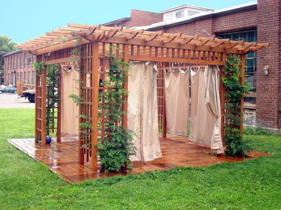 Homes , 8 Ideal Pergola Curtains : Garden Room Pergola