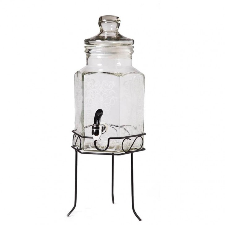 Others , 7 Gorgeous Glass Beverage Dispenser With Metal Spigot : Hexagon Shaped Glass Beverage