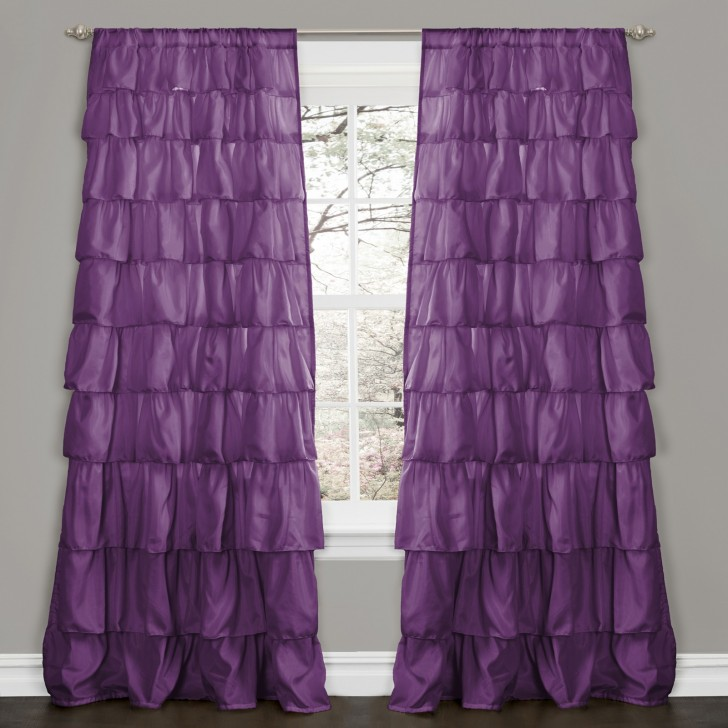 Others , 7 Superb Ruffle Curtain Panel : Home Window Treatments Curtains