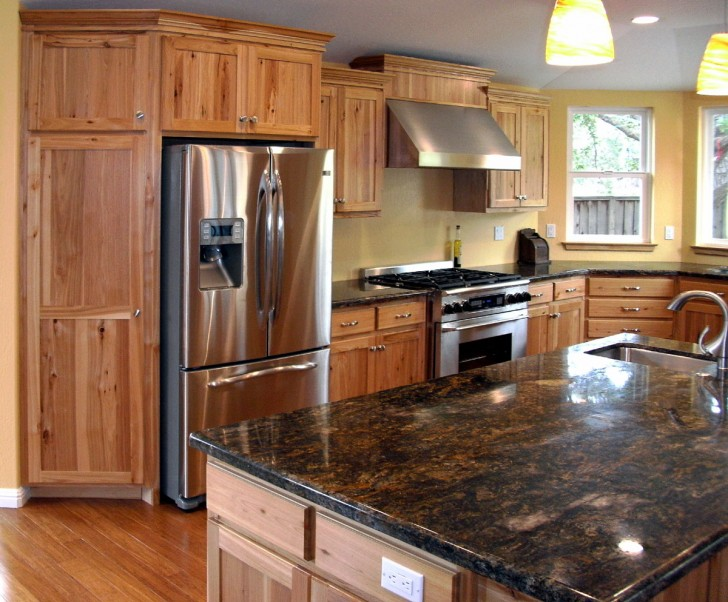 Kitchen , 7 Awesome Rustic Hickory Cabinets : Kitchen cabinets