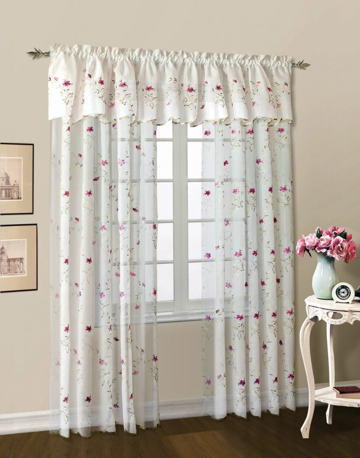 Others , 7 Best Embroidered Sheer Curtains : Loretta Embroidered Floral Sheer Curtain