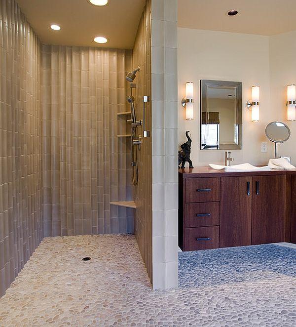 Bathroom , 7 Amazing Doorless Shower : Modern bathroom with doorless shower