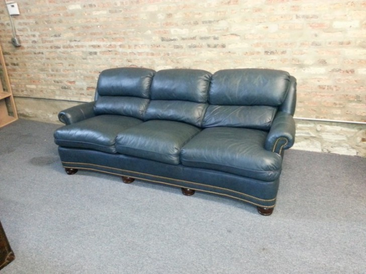 Furniture , 8 Good Navy Blue Leather Sofa : Navy Blue Leather Hancock