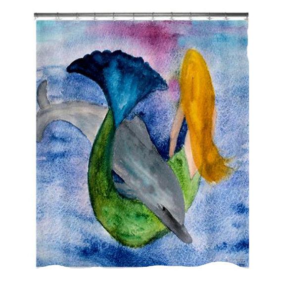 Others , 8 Good Mermaid Shower Curtain : Playful Mermaid
