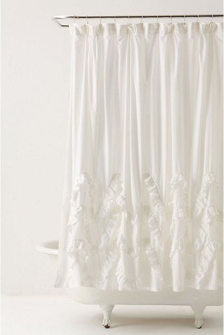 Others , 7 Superb White Ruffle Shower Curtain : Ruffled White Shower Curtain