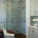 Bathroom , 8 Ideal Teak Shower Floor : Spa Shower with glass tiles
