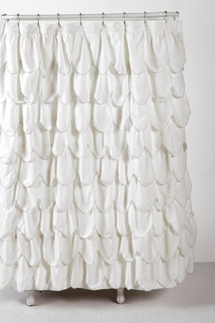 Others , 7 Best Ruffled Shower Curtain : Stitched Scallop Ruffle Shower Curtain