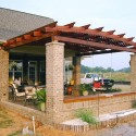 Stone columns , 8 Unique Curved Pergola In Homes Category