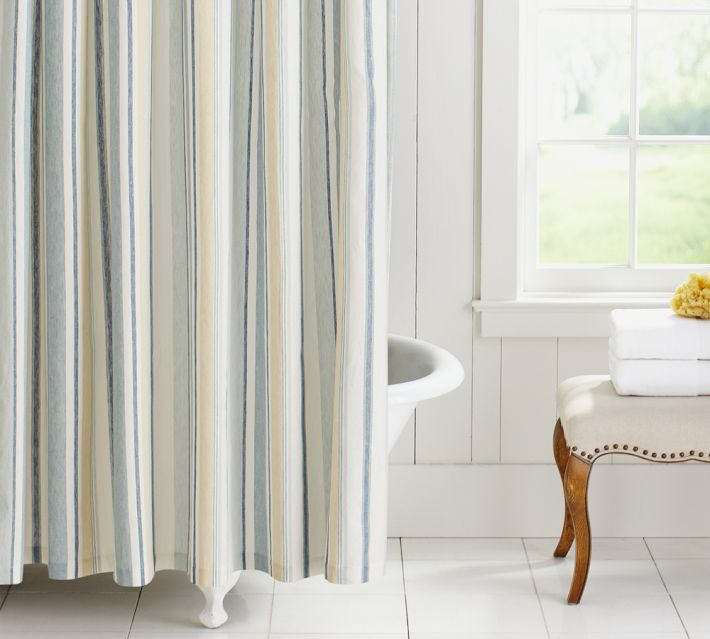 Others , 8 Popular Shower Curtains Pottery Barn : Stripe Shower Curtain