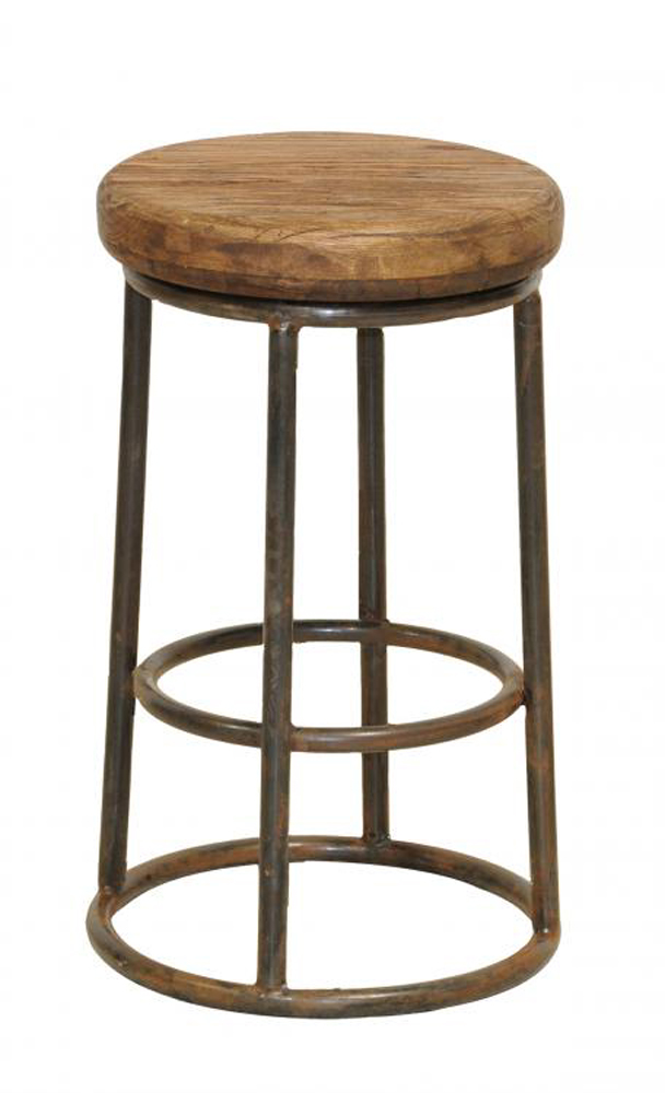 Furniture , 7 Charming Reclaimed Wood Bar Stools : This round counter stool