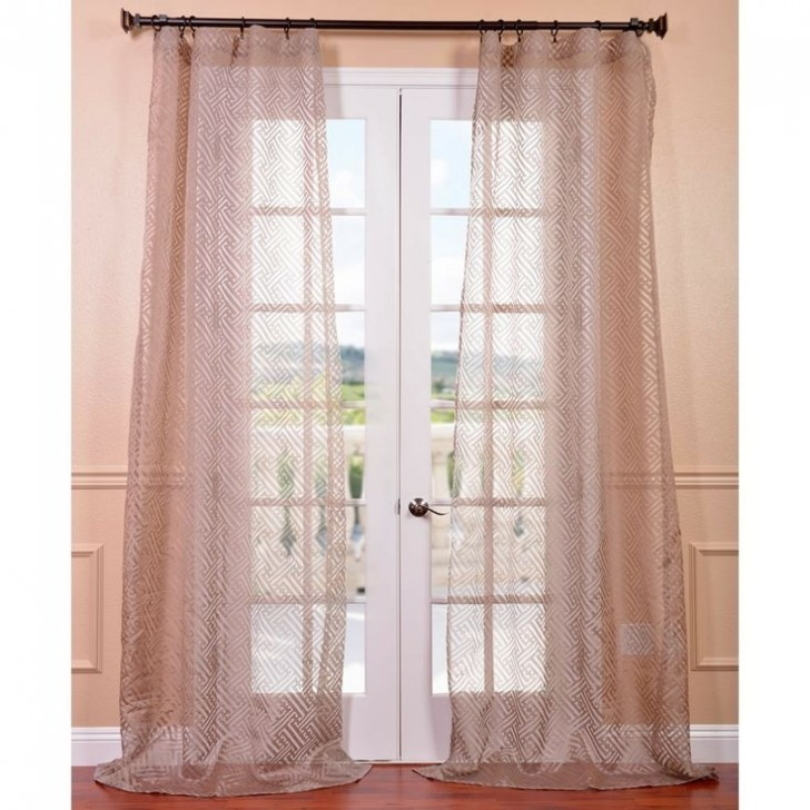 Others , 8 Amazing Patterned Curtain Panels : Zara Taupe Patterned Sheer Curtain Panel