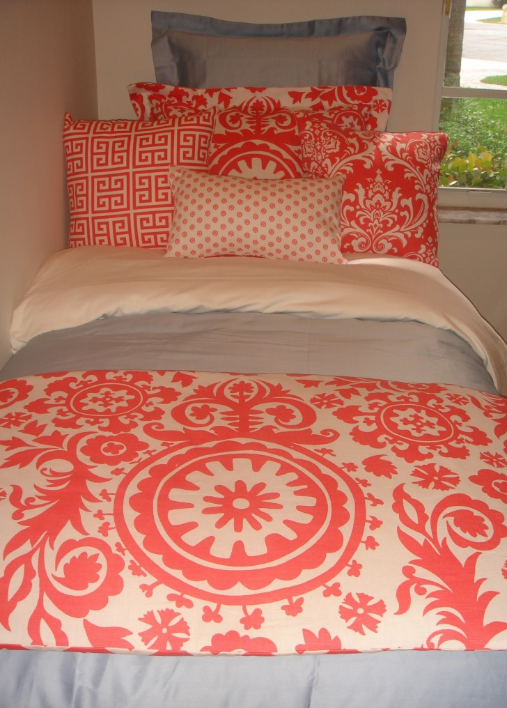 Bedroom , 8 Unique Coral Bedspread : dorm Bedding Set