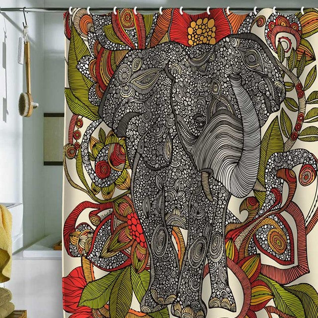 640x640px 7 Cool Elephant Shower Curtain Picture in Others