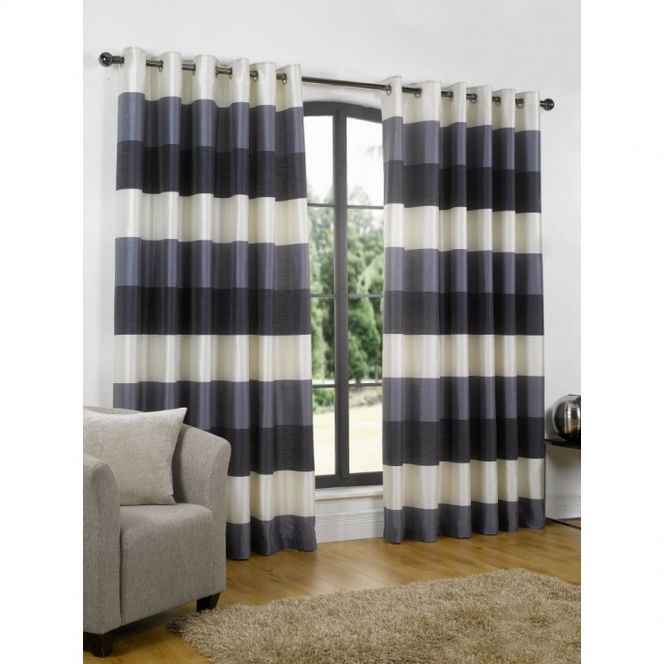 Others , 7 Ultimate Navy Striped Curtains : eyelet readymade curtain
