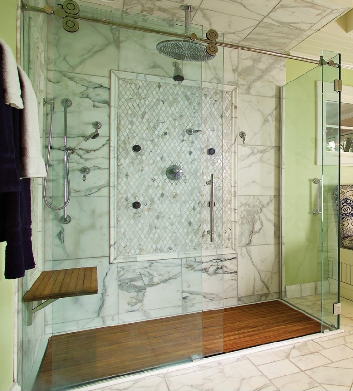 Bathroom , 8 Ideal Teak Shower Floor : recessed into the floor