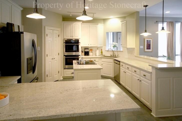 Kitchen , 7 Awesome Kashmir White Granite Countertops :  white kitchen cabinets